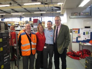 John Baron MP thanks postal staff on visit to Royal Mail Delivery Office, Basildon