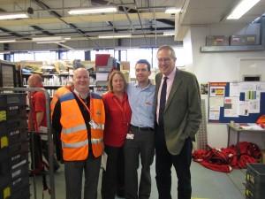 John Baron MP thanks postal staff on visit to Royal Mail Delivery Office, Basildon
