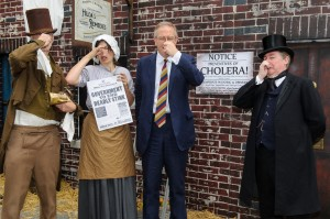 John Baron MP steps back in time and into WaterAid's Victorian street to support call for taps and toilets for all