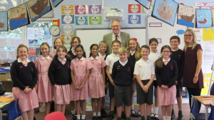 John with Samantha Squibb, Teacher and the Newspaper Club Members